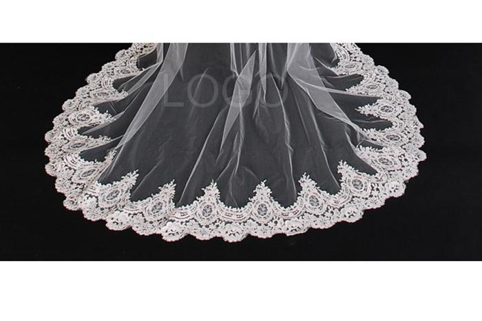 Lacework Graceful Flower Edge Long Mantilla Wedding Party Birde Veil Dress
