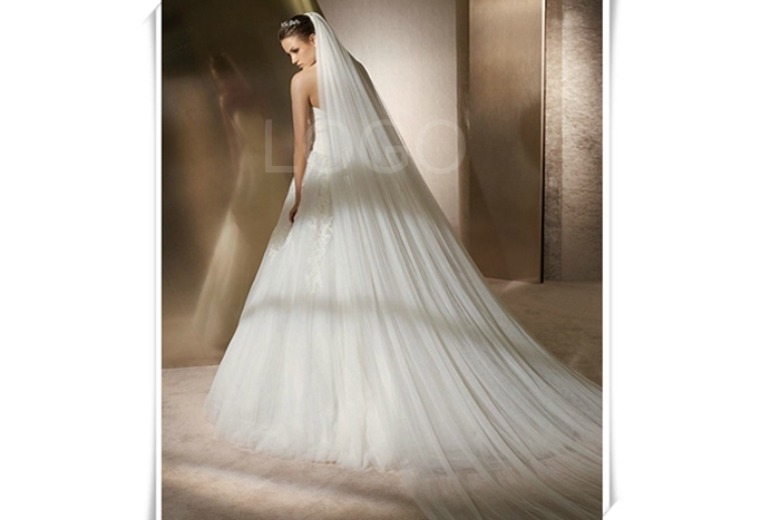 Double Layers 3m Gauze Long Mantilla Wedding Party Dress Bride Veil+Comb