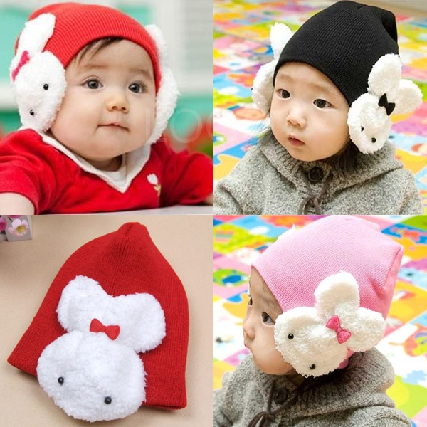 New Winter Baby Kids Woolen Cap Dual Rabbits Earmuffs Ear Cap Knitted Hat