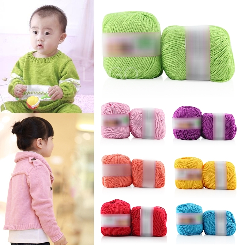 1pcs Skein Soft Natural Fiber Silk Knitting Wool Smooth Baby Woolen Yarn