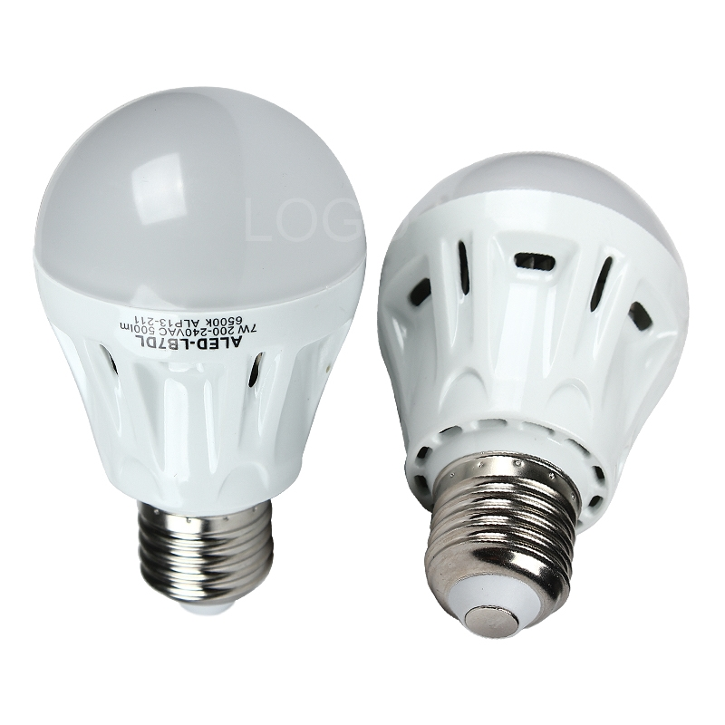 2pcs LED Warm White& Cool White Bulbs A60-E27 7W 500Lm Energy Saving Light