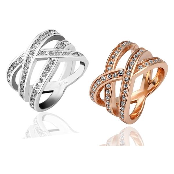 Fashion Korean Style Lovers 18K GP Swarovski Crystal Cross Ring +Storage