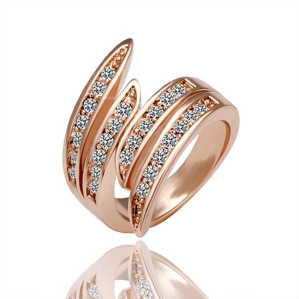 Fashion 18K Rose Gold Ring Inlay with Shinning Crystal Drills+Storage Box
