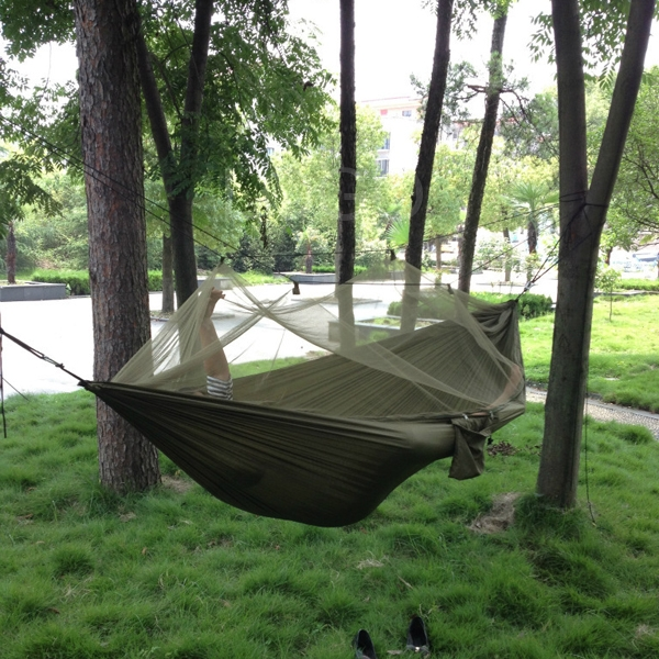 Parachute Fabric Hammock Hanging Bed With Mosquito Net For Outdoor Camping