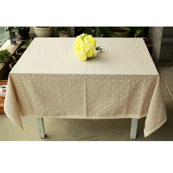 Washable Daisy Pattern Cotton& Cambric Lace Dining Table Cloth Table Runner
