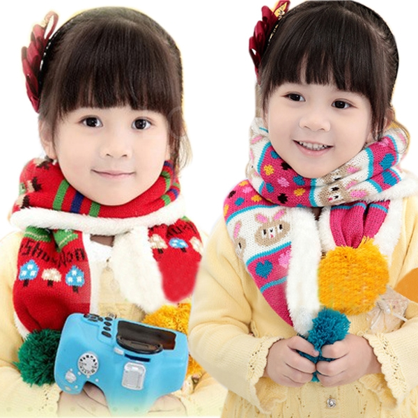 Baby Kids Cartoon Frog Pattern Scarf Winter Woolen+Velvet Knitted Muffler