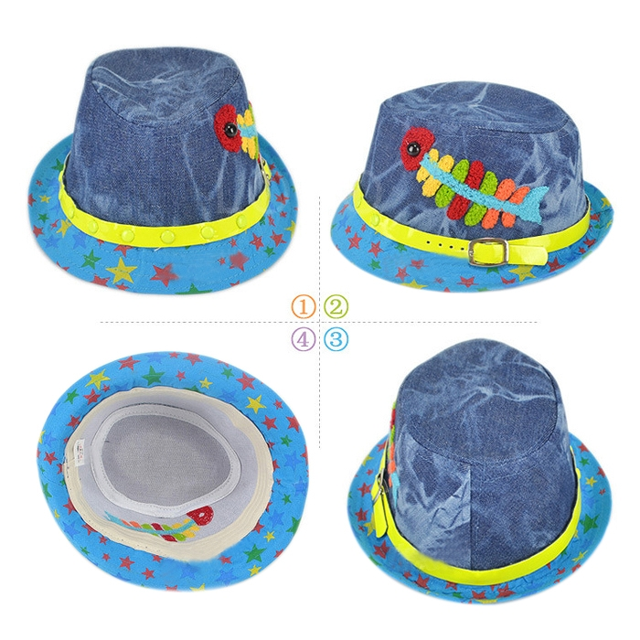 New Fashion Children Hat Cap with Cartoon Fishbone Pattern Flat Dress Hat
