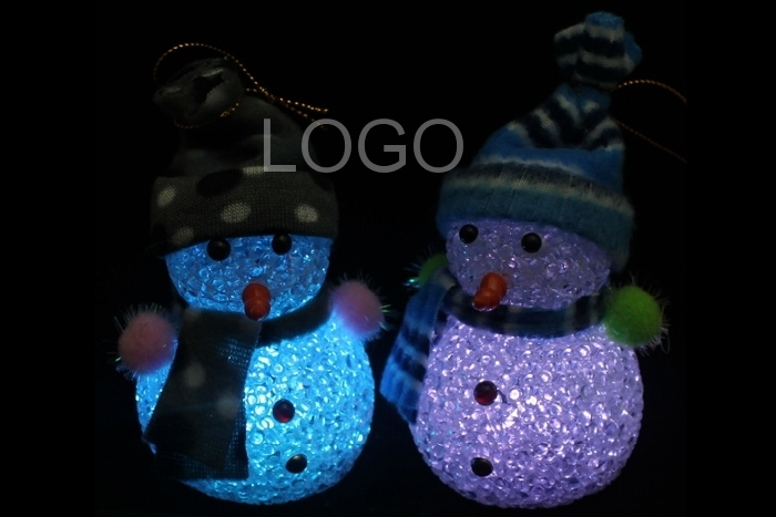 Christmas Decoration LED Light Lamp Cute Snowman Shaped Wearing with Hat