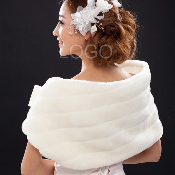 Woemn Winter Autumn Warm Fur Shawl Bridal Warm Tippet for Wedding Dress