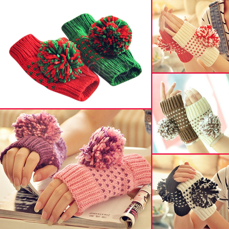 1Pair of Women Warm Gloves Winter Autumn Mittens in 2 Different Colors