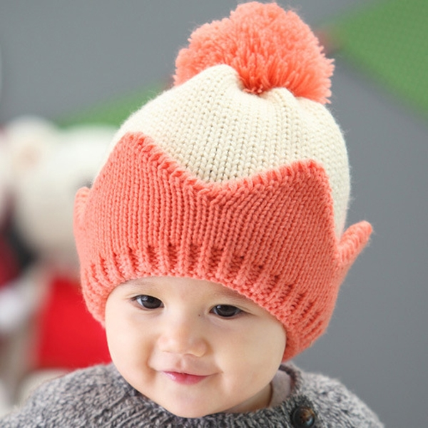 New Cute Baby Kids Winter Warm Knitted Hat 3D Crown Shaped ...