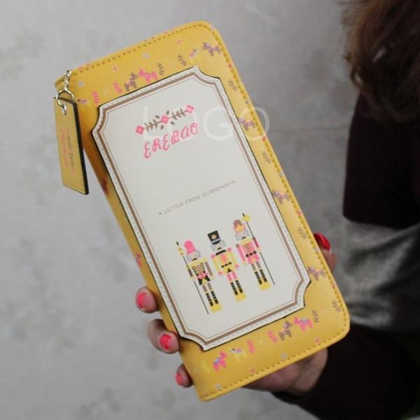 New Women Cute PU Letter Paper Pattern Purse Wallet Zipper Closure Long Handbag