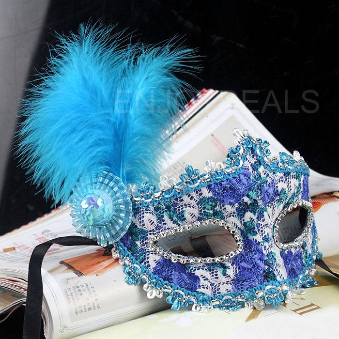 Fashion Mask with Feather &Crystal Drills for Masquerade Costume Ball