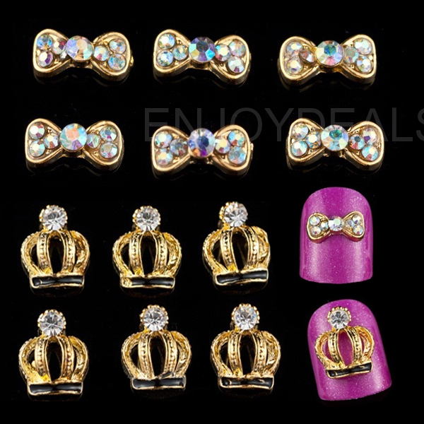 10pcs Fashion Golden Nail Art Cosmetic Tool with Shinning Rhinestones