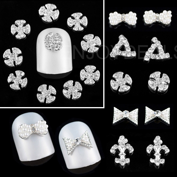Wholesale 10pcs Fashion Silver Alloy Nail Art Sticker Tool Decoration for Nail Cosmet