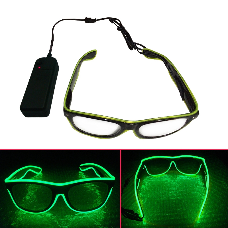Costume Party KTV LED Light Up EL Wire Glow Shades Party Bar Eye-wear Glasses B1