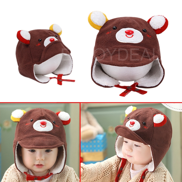 Baby Kids Winter Warm Hat Bear Shaped Earflap Peaked Cap Head Warmer