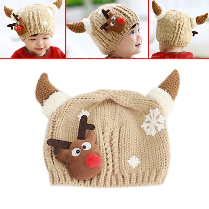 New Cute Baby Kids Winter Autumn Warm Hat Cap Head Warmer with OX Horns