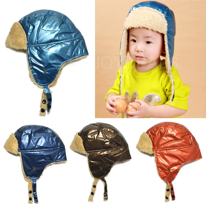 New Simple Baby Kids Warm Hat Earflap Cap with Shiny Leather Head Warmer