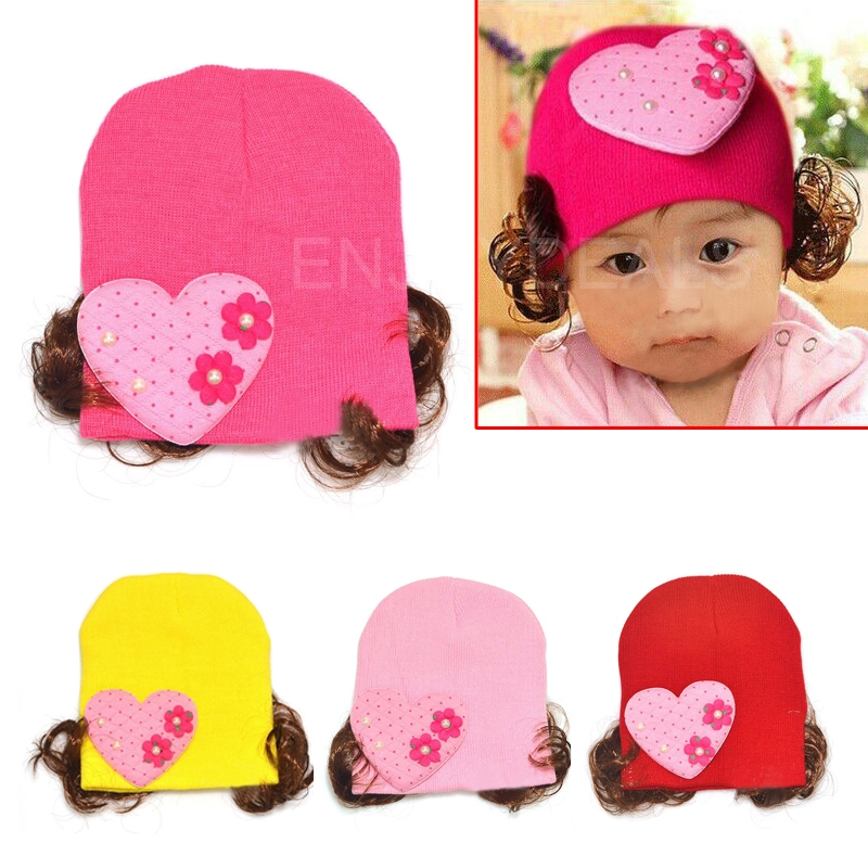 Fashion Lovely Baby Winter Warm Hat Knitted Earflap Cap with Hairpiece