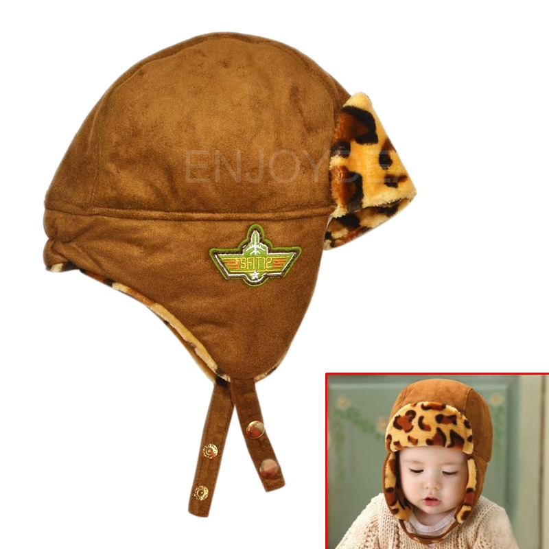 Fashion Cute Baby Kids Winter Warm Hat Earflap Cap with Leopard Pattern