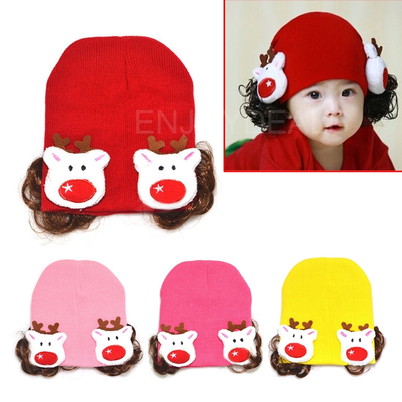 Fashion Cute Baby Kids Witer Warm Hat Knitted Earflap Cap with Hairpiece