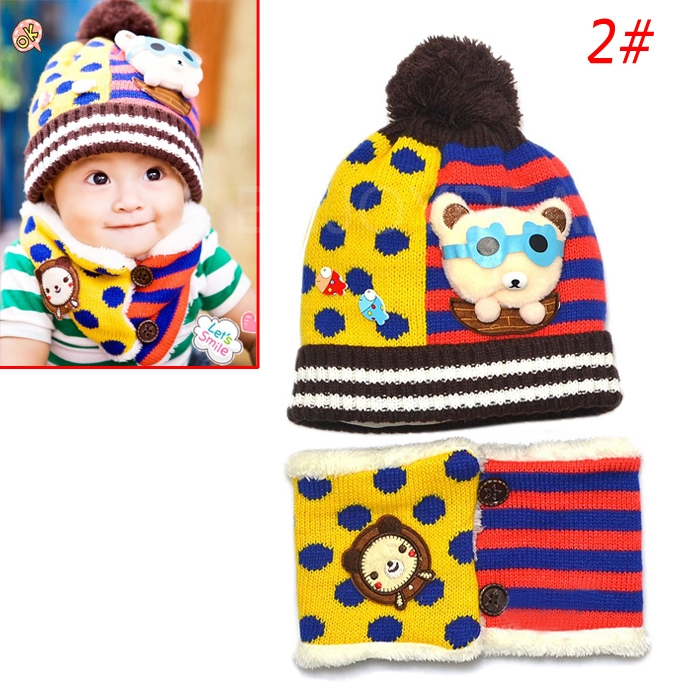 Fashion Cute Baby Kids Winter Autumn Warm Knitted Hat 2in1 Cap+Scarf Set