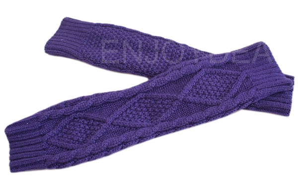 Women Knitted Winter Warm Fingerless Gloves Mitten Hands Warmer Purple