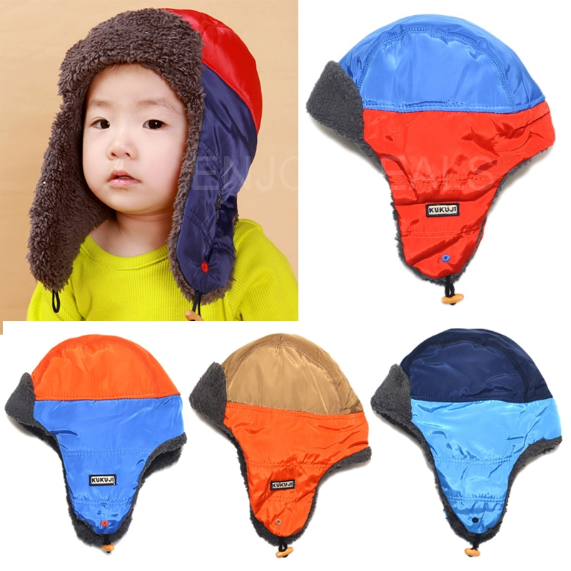 New Lovely Baby Winter Earflap Hat Double Color Cap with Lei Feng Pattern