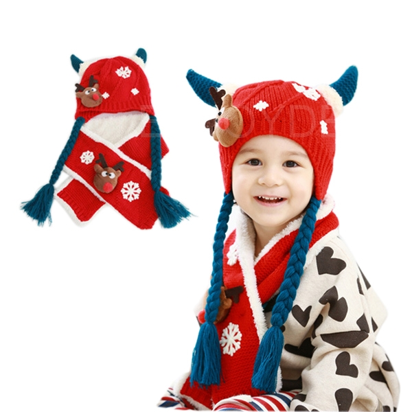 New Fashion Chrismas Deer Baby Hat with Knitted Cap in Autumn /Winter