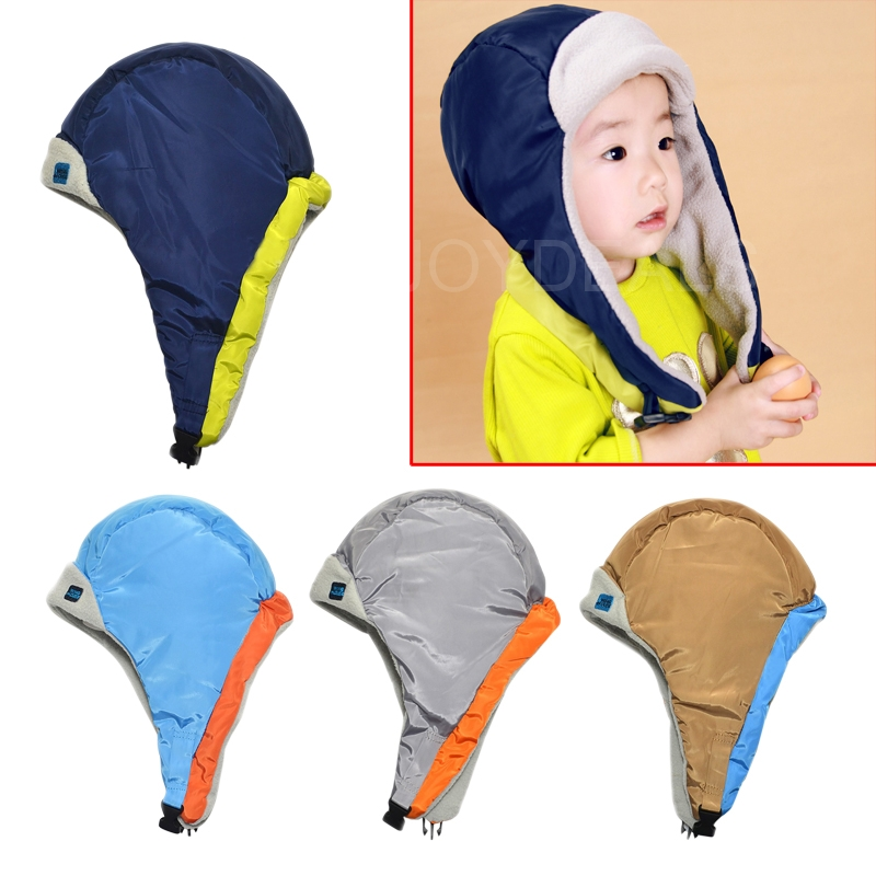 Lovely Simple Baby Winter Earflap Hat Color Mixing with Lei Feng Pattern