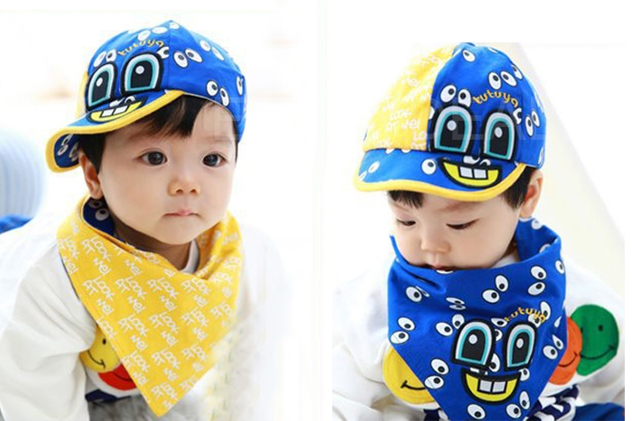 Fashion Children Baby Cap Infant Cute Big Eyes Cotton Hat with Scarf Set