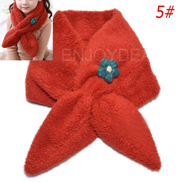 New Soft Baby Winter Velvet Neck Scarf Girl Scarf with Small Flower Red