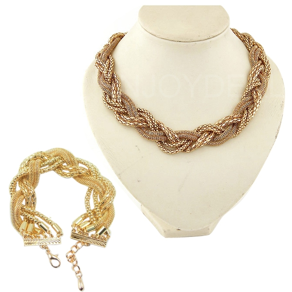 Hot Selling Fashion Gold Twist braid chain jewelry Necklace Bracelet punk