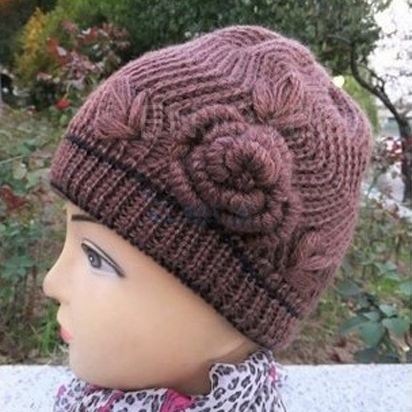 Ladies Winter Thick warmer Beanie Knit Crochet Hat Cap Button Light Coffee