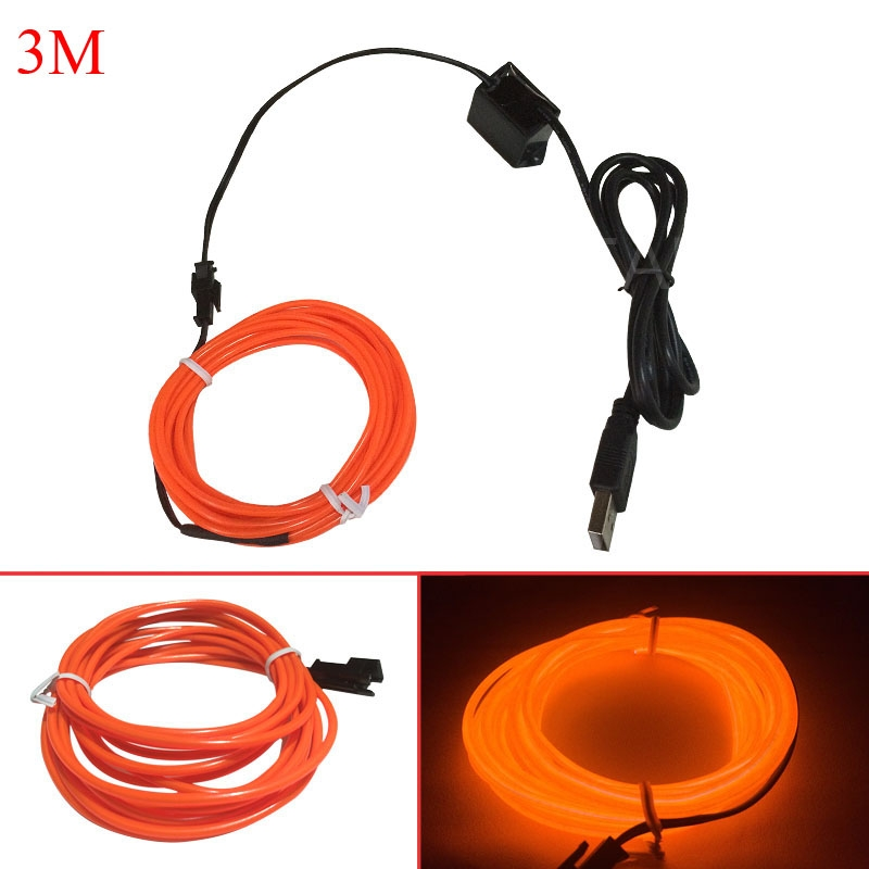 Flexible EL Wire Neon LED Strip USB Rope Glow Tube Light Party Decor ...