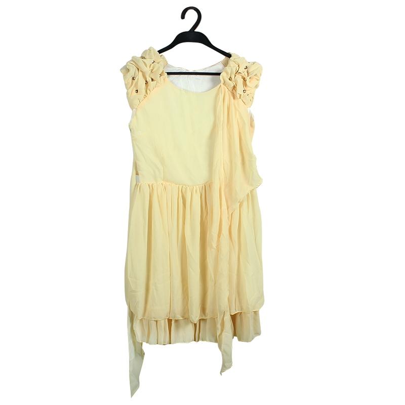 Yellow Women�s Sleeveless Chiffon Ruffle Dress Club Party Evening Dress L