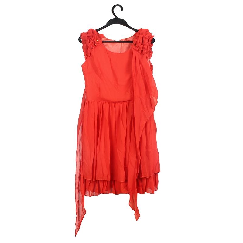 Red Women�s Sleeveless Chiffon Ruffle Dress Club Party Evening Dress XL