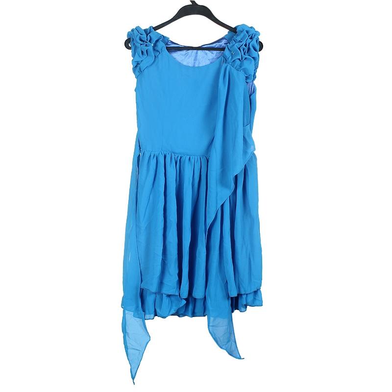 Blue Women�s Sleeveless Chiffon Ruffle Dress Club Party Evening Dress L