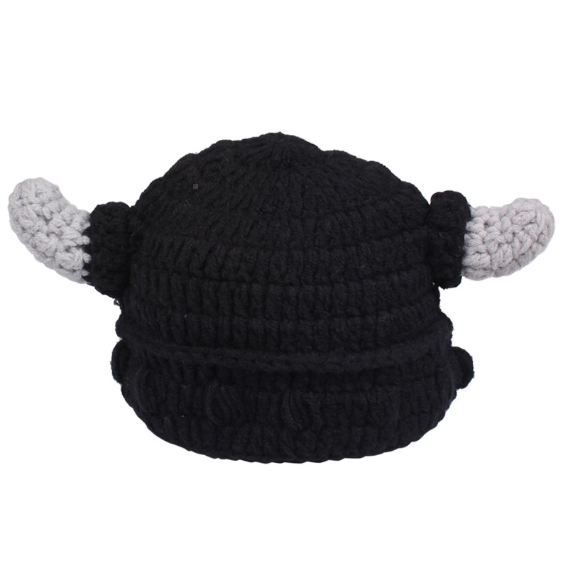 Fashion Cute Adult/Children Pirates Vikings Bull Horn Knitted Hat Warm Cap