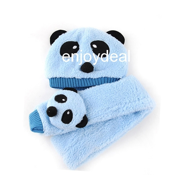 Panda Pattern Baby Toddler Boy & Girl Winter Warm Hat Cap Beanie+Scarf Set