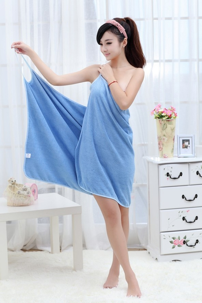 Women Fast Drying Magic Bath Towel Beach Spa Bathrobes with Shoulder-Strap