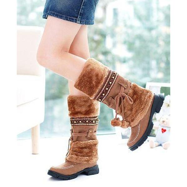 1 Pair Fashion Ladies Girls Winter Warm Flat Heels Knee High Ski Snow Boots