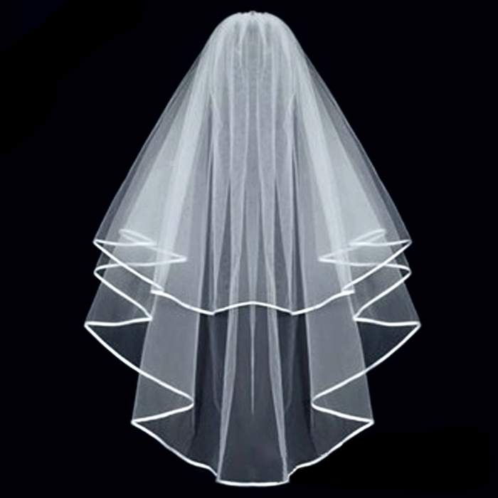 Nice Elegant White 1.5M 2 Layers White Wedding Bridal Veil With Comb