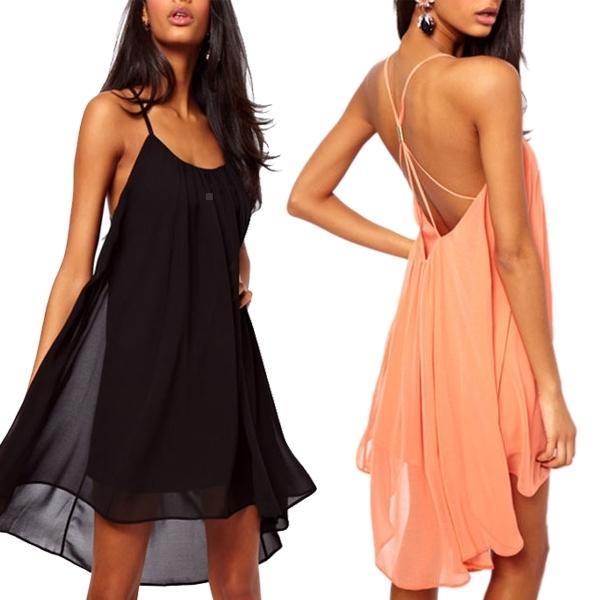 Ladies Sexy Backless Chiffon Strapless Party Evening Clubwear Mini Dress
