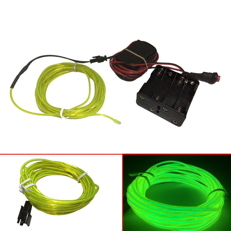 Lemon Green Flexible EL Wire Neon LightTube Party Xmas Decoration 12M