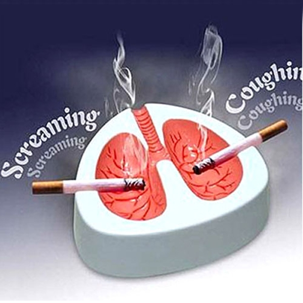Special New Lung Shape Cough Scream Sound Quit Smoke Stop Smoking Ashtray