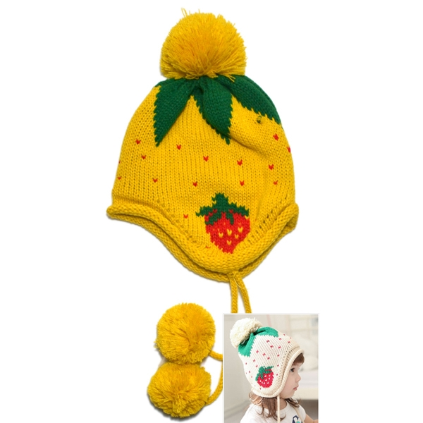 Kids Winter Strawberry Pattern Knitted Cap Earflap Warm Beanie Yellow