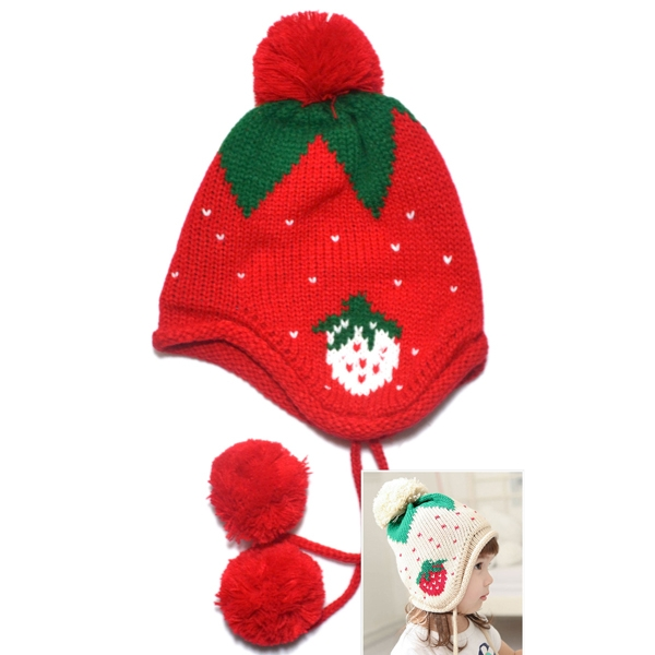 Child Kids Winter Strawberry Pattern Knitted Cap Earflap Warm Beanie Red