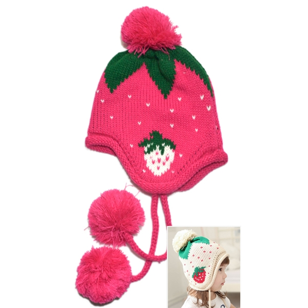 Kids Winter Strawberry Pattern Knitted Cap Earflap Warm Beanie Rose Red